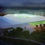 az_uj_haladas_stadion_kivulrol_ejszaka